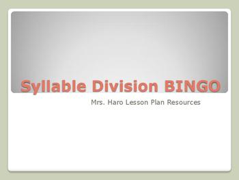 Syllable Division BINGO
