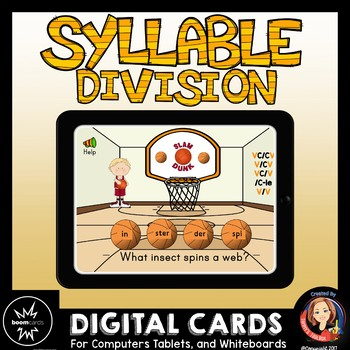 Syllable Division Digital Boom Card Review Game