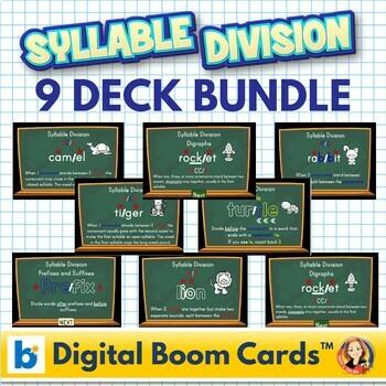 Syllable Division Digital Boom Task Cards Bundle