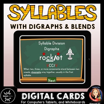 Syllable Division Digital Boom Task Cards with Blends and Digraphs