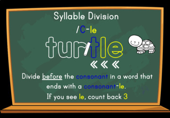 Syllable Division Digital Boom Task Cards with /C-le Turtle Words