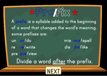 Syllable Division Digital Boom Task Cards with Prefixes and Suffixes