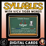 Syllable Division Digital Boom Task Cards with V/CV Tiger Words