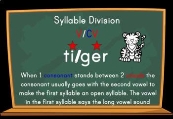 Syllable Division Digital Boom Task Cards with V/CV Tiger Words