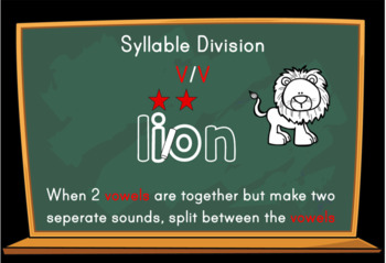 Syllable Division Digital Boom Task Cards with V/V Lion Words