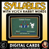 Syllable Division Digital Boom Task Cards with VC/CV Rabbit Words