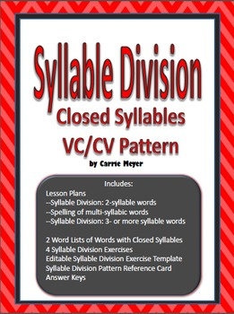 Syllable Division Lesson: Closed Syllables and VC/CV Pattern