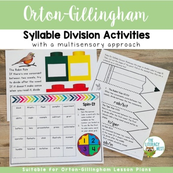 Syllable Division Multisensory Reading Activities Orton-Gillingham Resource