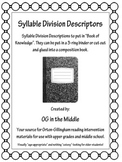 Syllable Division Rules for Student-Created Book