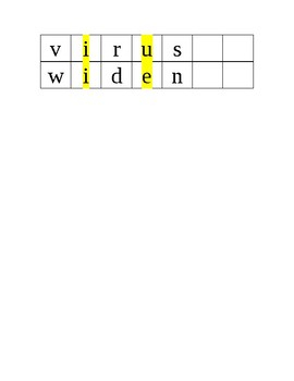 Syllable Division Strips with Open Syllable