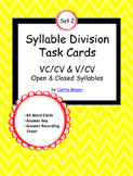 Syllable Division Task Cards Set 2: VC/CV & V/CV Open & Cl