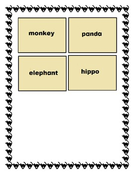 Syllable Flash cards : Zoo Animals