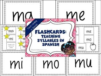Syllable Flashcards in Spanish - Las Silabas en Espanol - Print and Go!