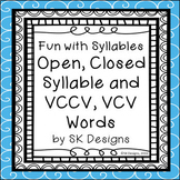 Syllables Open Closed VCCV VCV Fluency Skills Flash Cards & Fun Games Printables