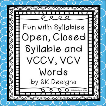 Syllables Open Closed VCCV VCV Fluency Skills Flash Cards