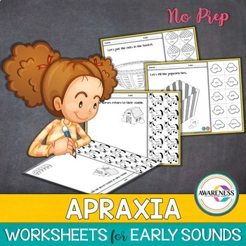 Apraxia Practice Sheets:Early Developing Sounds (No prep)