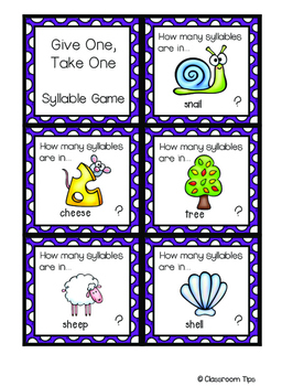 Syllable Game: Give One, Take One (COLOR & BW)