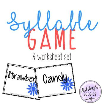 Syllable Game and No-Prep Worksheet Set (Flower Edition)