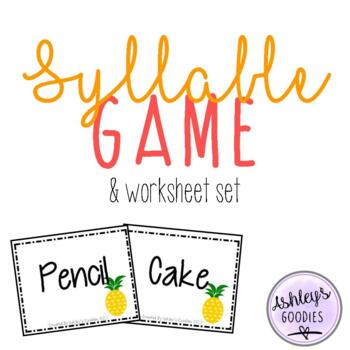 Syllable Game and No-Prep Worksheet Set (Pineapple Edition)