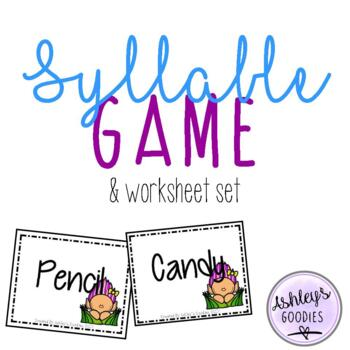 Syllable Game and No-Prep Worksheet Set (Troll Edition)