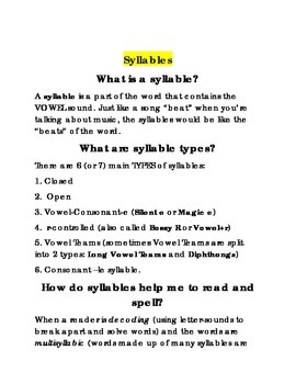 Syllable Instructional Guide with Activities