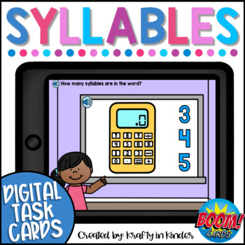 Syllable BOOM CARDS Digital Task Cards