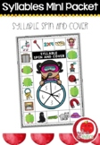 Syllable Literacy Centre Mini-Packets: Syllable Spin and Cover