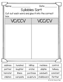 Syllable Patterns: VCCV | Worksheet | Education.com
