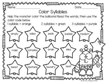 Syllable Patterns C + le, VCCCV, and CVVC (No Prep Worksheets) | TpT