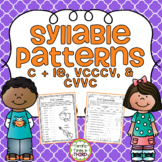 Syllable Patterns C + le, VCCCV, and CVVC (No Prep Worksheets)