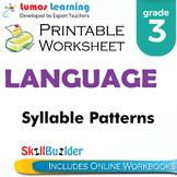 Syllable Patterns Printable Worksheet, Grade 3