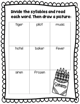 Syllable Patterns: V/CV worksheets and decodable story