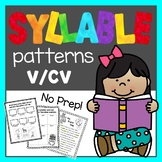 Syllable Patterns: V/CV worksheets and decodable story