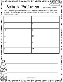 Syllable Patterns VC/CV and V/CV  Literacy Center
