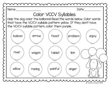 Syllable Patterns V/CV, VC/V, and VC/CV (No Prep Worksheets)