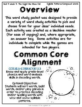 Syllable Patterns Word Study Packet: (The Night the Moon Fell) Reading Street