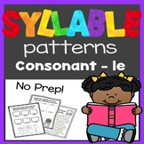 Syllable Patterns: consonant-le worksheets and decodable story