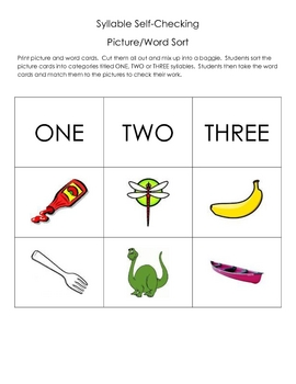 Syllable Picture/Word Sort