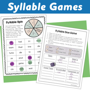 Six Types of Syllables: Posters, Centers, Interactive Notebook and Worksheet