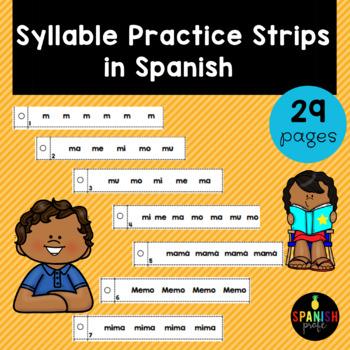 Syllable Practice Strips in Spanish ((Tiras de fluidez para lectura- Silabas)