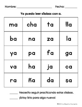 Guided Reading Tools: Open Syllables Reading Assessments (Spanish)