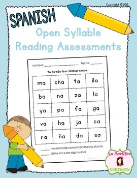 Guided Reading Tools: Open Syllables Reading Assessments (