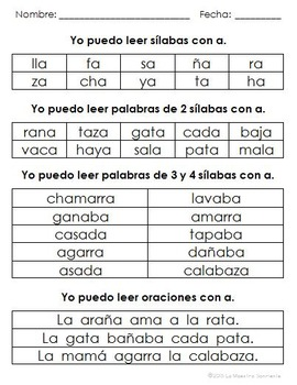 Guided Reading Tools: Syllable Reading Assessments (Spanish)