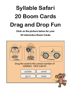 Syllable Safari-Grades 2-3- 20 Boom Task Cards