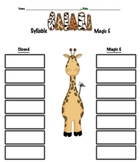 Syllable Safari Magic E and closed game for literacy centers