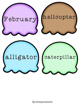 Syllable Scoop Up Center and Activity