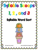 Syllable Scoops Sorting Center {1, 2, and 3 Syllable Words}