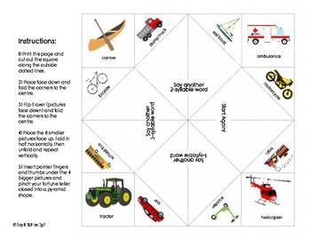 Syllable Segmentation Fortune Teller for Phonological Awareness - Vehicles Theme