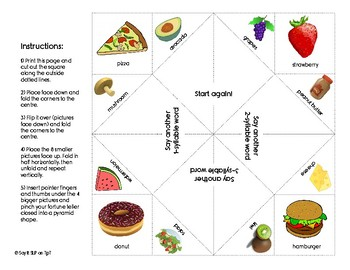Syllable Segmentation Fortune Teller for Phonological Awareness - Food Theme