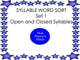 Syllable Sort 1 - Open and Closed Syllables
